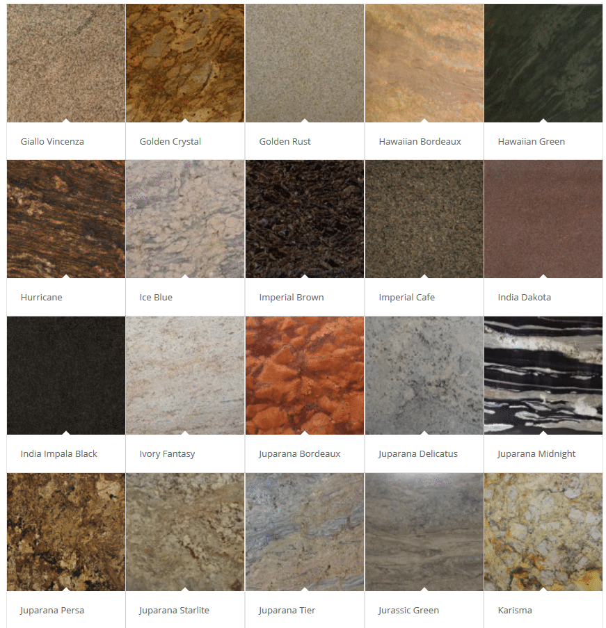 Granite Color Choices Palette