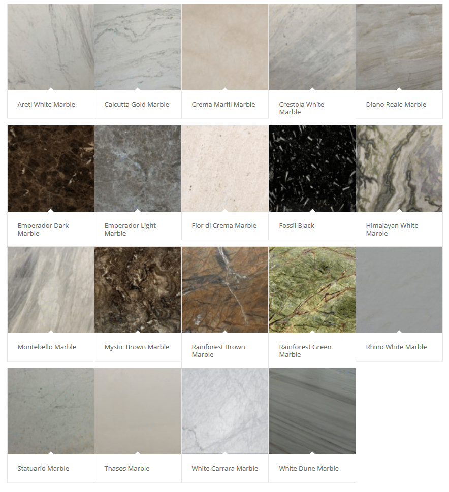 Marble Color Choices - Pittsburgh, PA