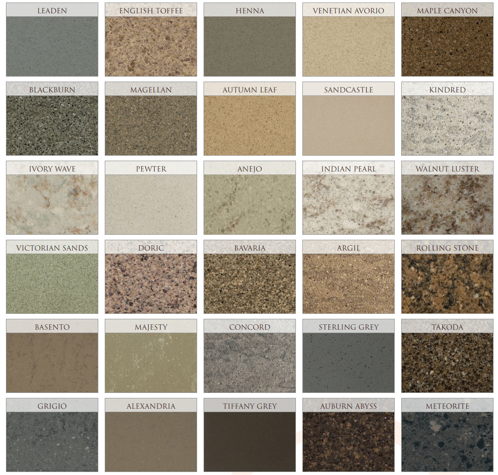 hanstone quartz colors - greens and browns