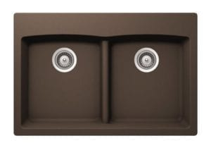 Granite Composite Sink - Double Equal Bowl - Brown