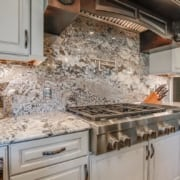 Natural stone backsplash by Choice Granite & Marble