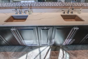 Quartz bathroom vanity installed in Pittsburgh by Choice Granite & Marble